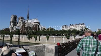 Notre-Dame and the Archbishop's Bridge (Pont de l'Archevêché) in Paris