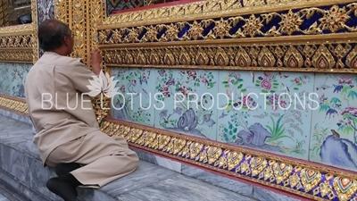 Restoration Work on the Outer Wall of Ubosot at the Emerald Temple/Chapel (Wat Phra Kaew) at the Grand Palace (Phra Borom Maha Ratcha Wang) in Bangkok