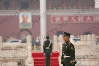 Soldiers Standing Guard at the Base of the Flagpole in Tiananmen Square in Beijing