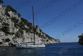 Boat Anchored in a Calanque near Cassis