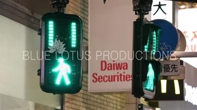 Pedestrian Crossing Lights in Shibuya in Tokyo