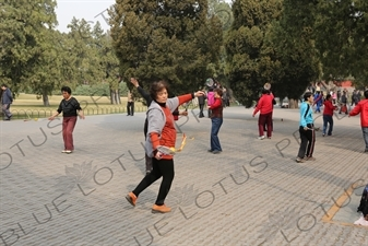 People Practising Taiji Bailong Ball/Taiji Rouli Qiu near the North Gate of the Temple of Heaven (Tiantan) in Beijing