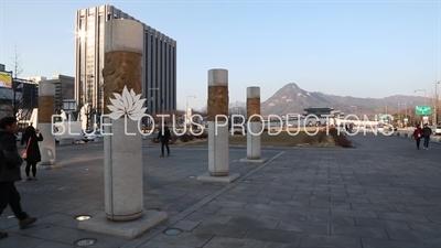 Columns behind King Sejong Statue and Gyeongbokgung Palace in Seoul