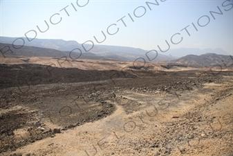 Hills and Volcanic Rock around Lake Assal in Djibouti