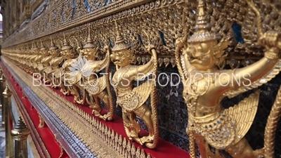 Garuda and Naga Carvings on the Exterior of Ubosot at the Emerald Temple/Chapel (Wat Phra Kaew) at the Grand Palace (Phra Borom Maha Ratcha Wang) in Bangkok