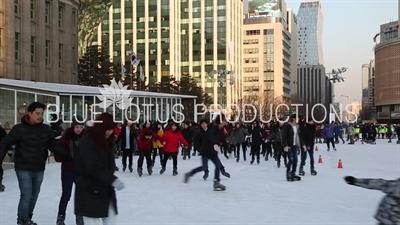 Ice Skaters Skating on Seoul Plaza Ice Rink