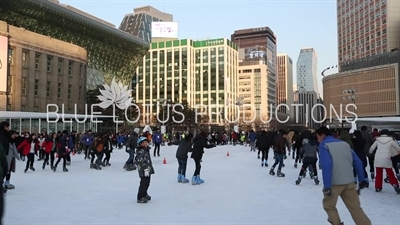 Ice Skaters Skating on Seoul Plaza Ice Rink