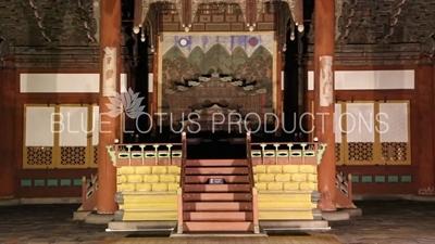 Throne and Interior of Junghwa Hall (Junghwajeon) at Deoksu Palace (Deoksugung) in Seoul