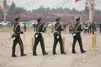 Soldiers Marching in Tiananmen Square in Beijing