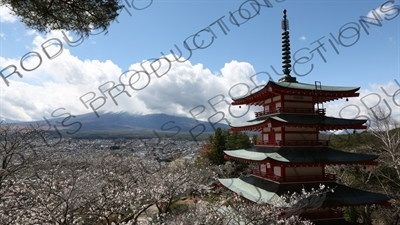 Chureito Pagoda with Fujiyoshida and Mount Fuji in the Background