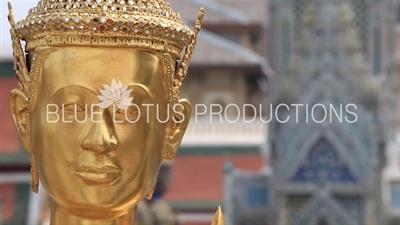 Gold Kinnara Statue in the Emerald Temple/Chapel (Wat Phra Kaew) at the Grand Palace (Phra Borom Maha Ratcha Wang) in Bangkok