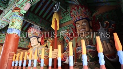 Guardian Heavenly Kings Statues inside Cheonwang Gate (Cheonwangmun) at Beomeosa Temple in Busan