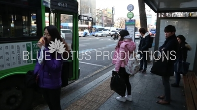 Passengers Waiting for a Bus in Seoul