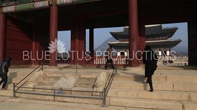 Haetae Carvings on the Stairs of the Geunjeong Gate (Geunjeongmun) at Gyeongbok Palace (Gyeongbokgung) in Seoul