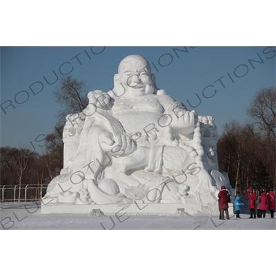 Snow Sculpture of Buddha in the Sun Island Scenic Area (Taiyang Dao) in Harbin
