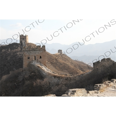Qilin Tower/Small Arc Roof Tower, the Large Arc Roof Tower and the Nianzigou Tower on the Jinshanling section of the Great Wall of China
