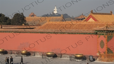 Square of Heavenly Purity (Qianqing Guangchang) and Beihai Park Stupa in the Forbidden City in Beijing