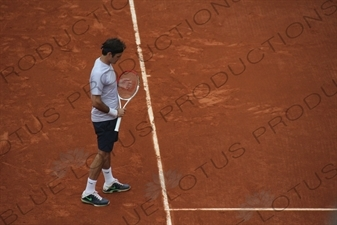 Roger Federer on Philippe Chatrier Court at the French Open/Roland Garros in Paris