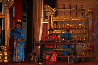 Performers Playing Classical Chinese Instruments in the Divine Music Administration (Shenyue Shu) in the Temple of Heaven (Tiantan) in Beijing