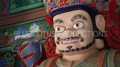Statue of the Guardian Heavenly King of the South (Jeungjang-cheonwang) inside Cheonwang Gate (Cheonwangmun) at Beomeosa Temple in Busan