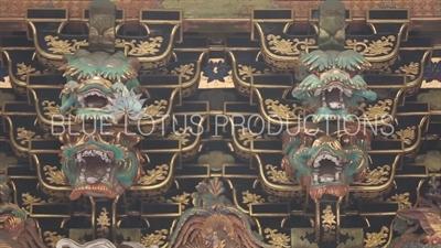 Dragon Carvings on the Yomei Gate (Yomeimon) at Toshogu Shrine in Nikko