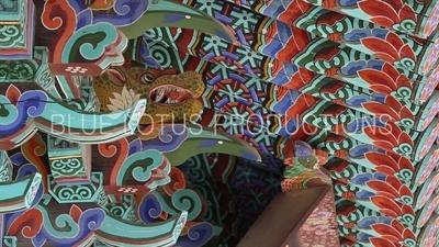 Roof Carvings on Jijang Hall (Jijangjeon) at Beomeosa Temple in Busan
