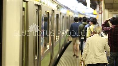 Train Pulling out of Shinjuku Station in Tokyo
