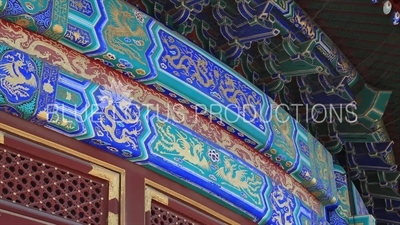 Dragon and Phoenix Paintings on Exterior of the Hall of Prayer for Good Harvests (Qi Nian Dian) in the Temple of Heaven in Beijing