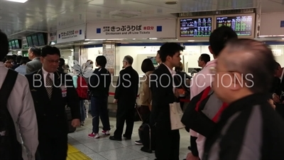 People Queuing to Buy Bullet Train (Shinkansen) Tickets in Tokyo Station