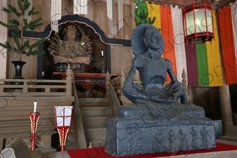 Two Buddha Statues inside the Hatto in Kencho-ji in Kamakura