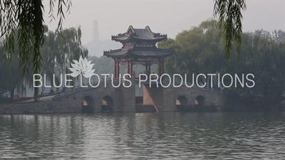 Willow Bridge (Liu Qiao), Jade Peak Pagoda (Yu Feng Ta) and Jade Spring Hill (Yuquan Shan) in the Summer Palace in Beijing